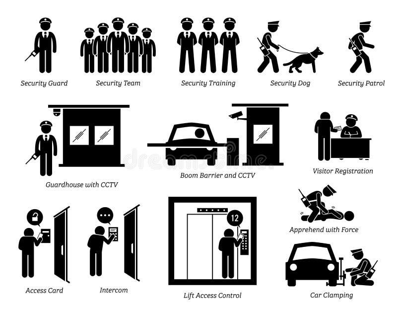 Ícones dos agentes de segurança ilustração stock