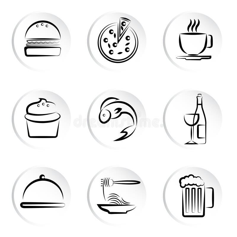 Ícones dos alimentos ilustração do vetor