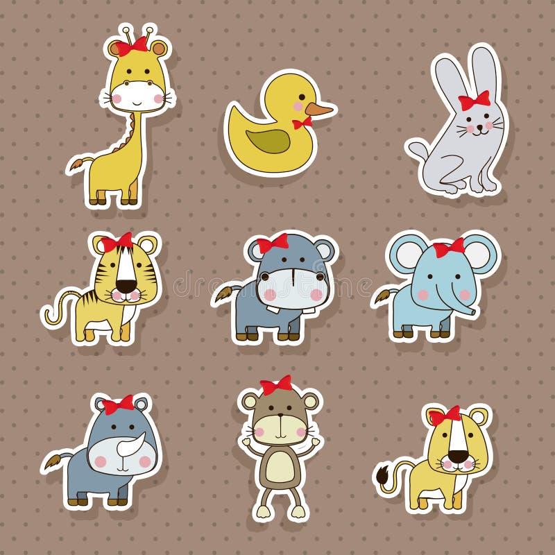 Ícones dos animais ilustração royalty free