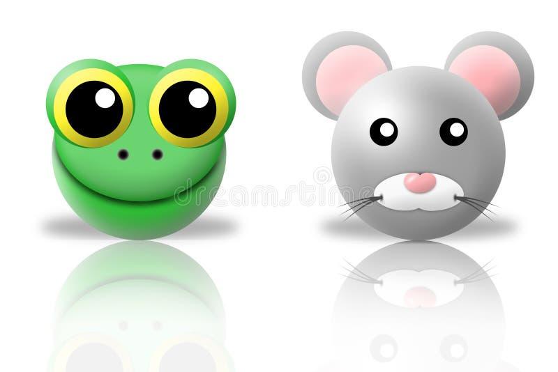 Ícones dos animais da râ e do rato ilustração stock
