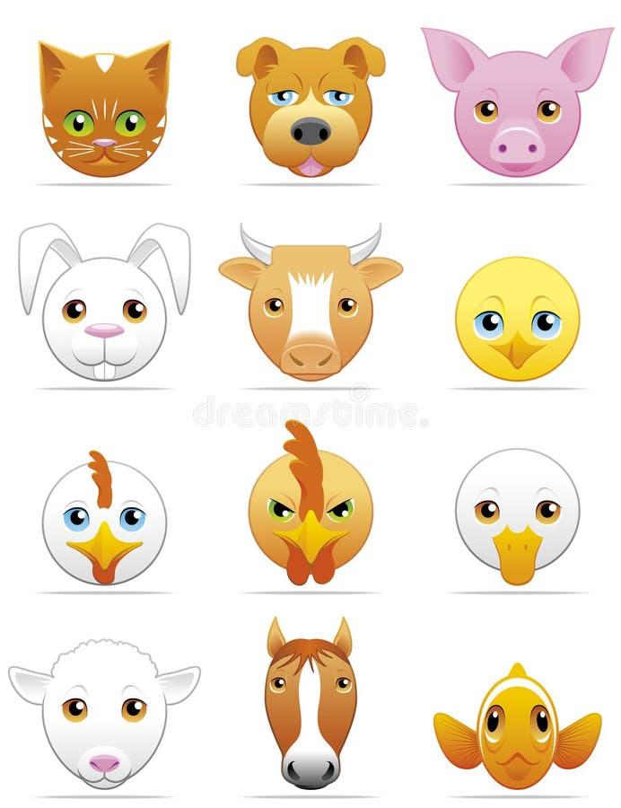 Ícones dos animais de estimação e dos animais de exploração agrícola