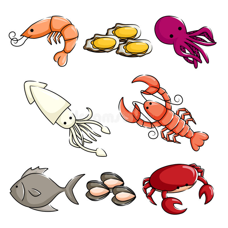 Ícones dos animais de mar ilustração royalty free