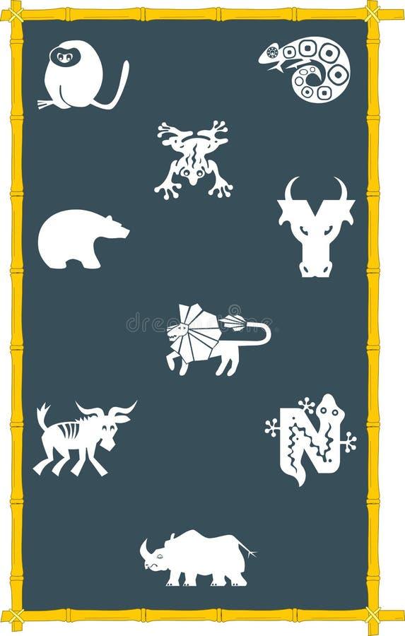 Ícones dos animais na placa ilustração royalty free