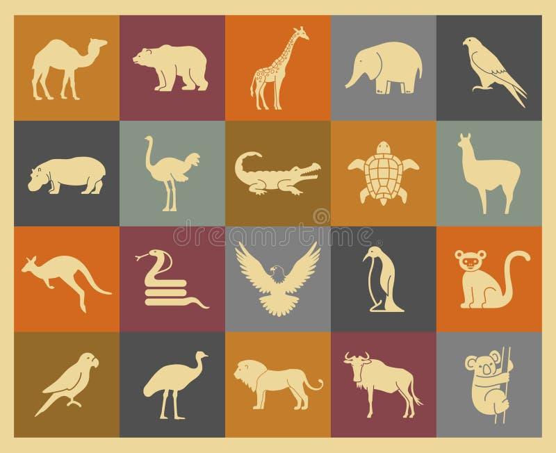 Ícones dos animais selvagens ajustados ilustração stock