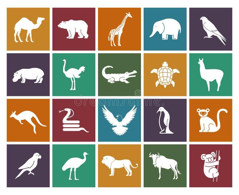 Ícones dos animais selvagens e dos pássaros ajustados Ilustração do vetor ilustração stock