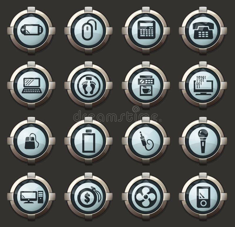 Ícones dos aparelhos eletrodomésticos ajustados ilustração stock