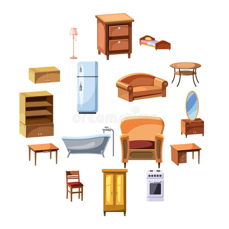Ícones dos aparelhos eletrodomésticos da mobília e ajustados ilustração stock