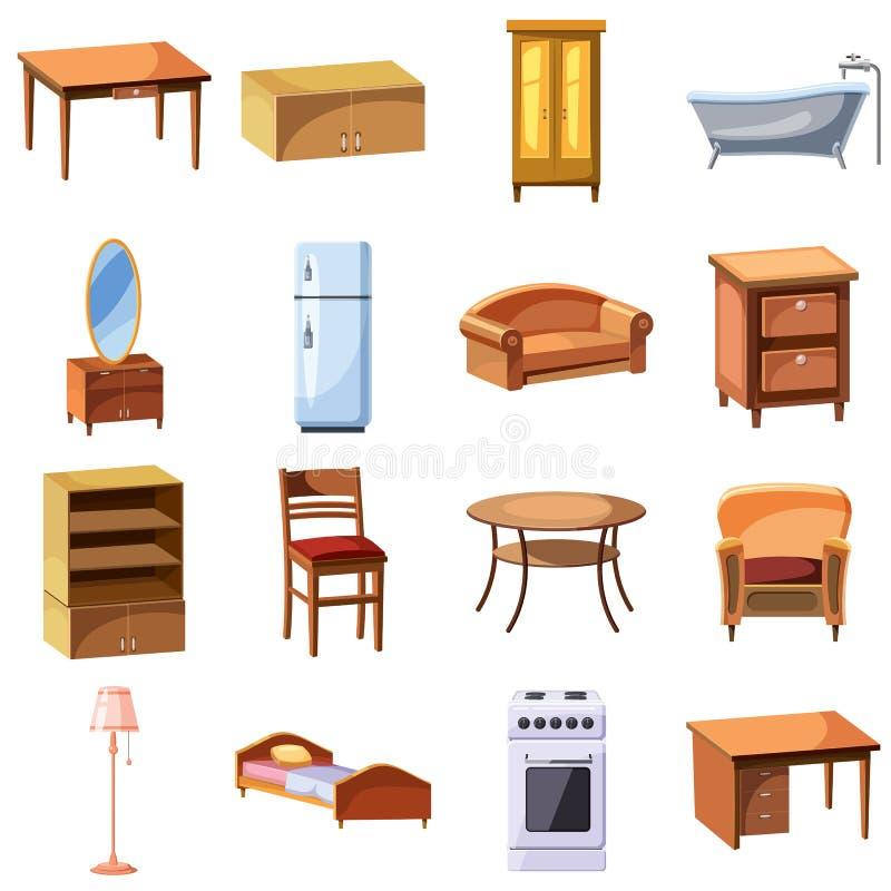 Ícones dos aparelhos eletrodomésticos da mobília e ajustados ilustração royalty free