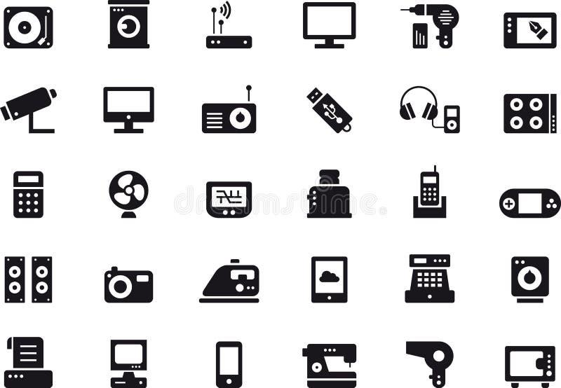 Ícones dos aparelhos eletrodomésticos e dos dispositivos eletrónicos ilustração royalty free