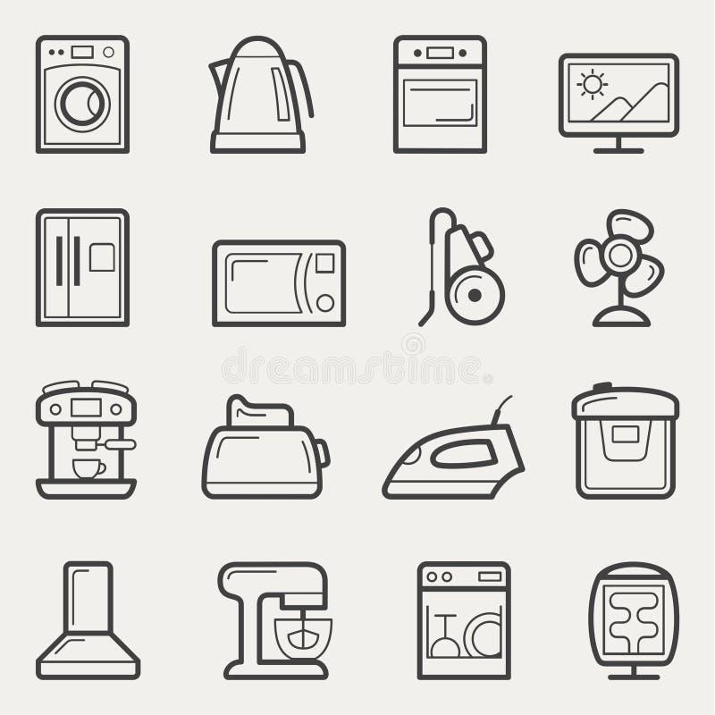 Ícones dos aparelhos eletrodomésticos: máquina de lavar, bule, forno, tevê, refrig ilustração stock