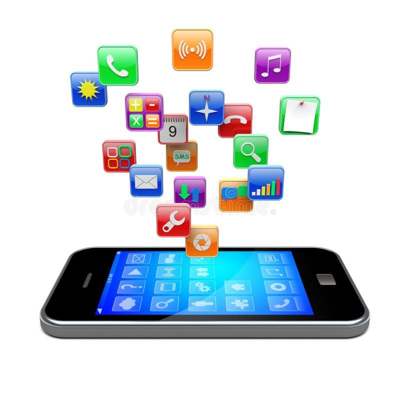 Ícones dos apps de Smartphone ilustração stock
