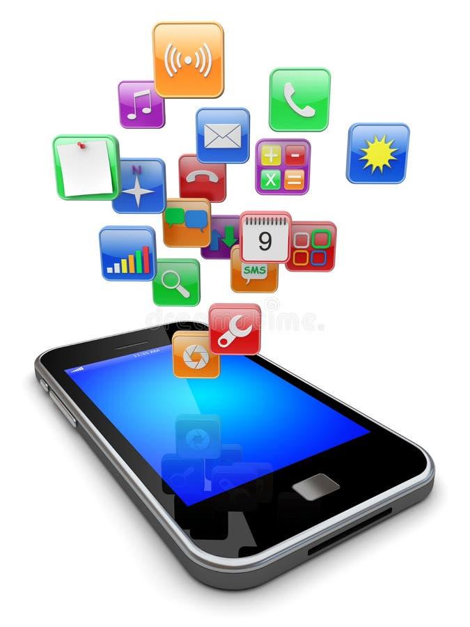 Ícones dos apps de Smartphone ilustração do vetor