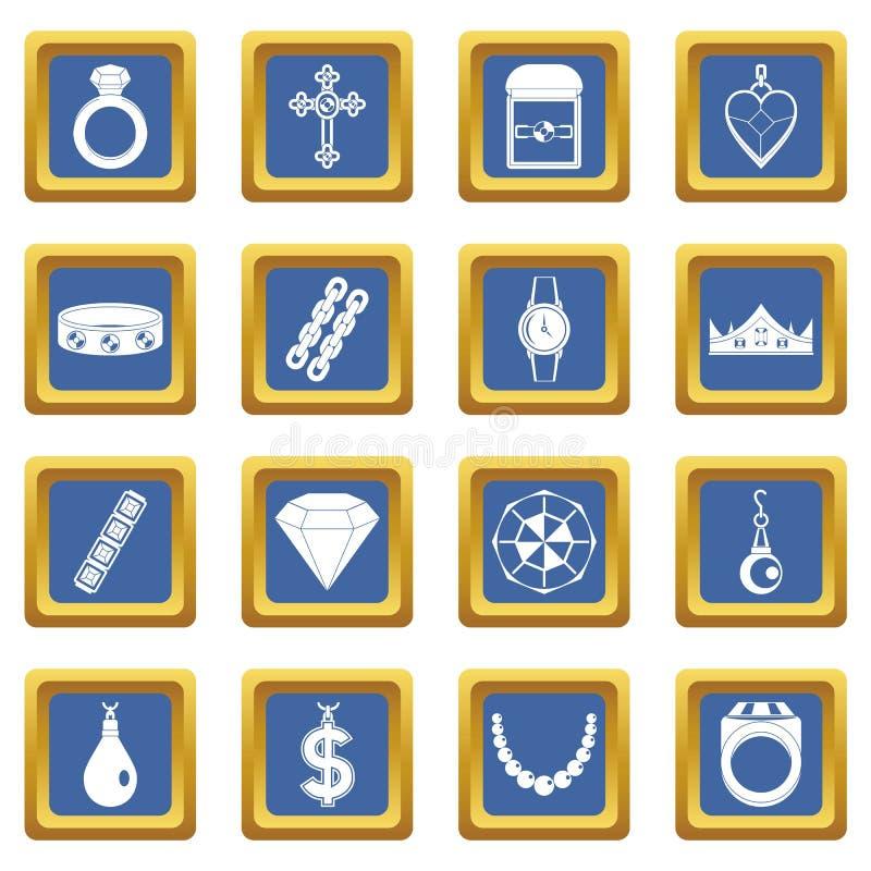 Ícones dos artigos da joia ajustados azuis ilustração royalty free
