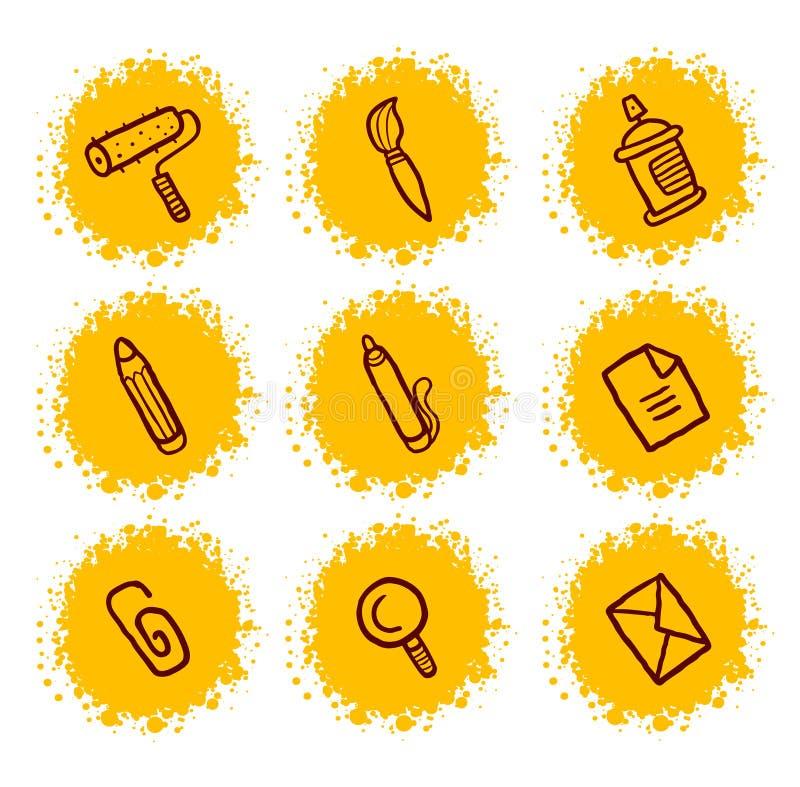 Ícones dos artigos de papelaria ajustados ilustração royalty free