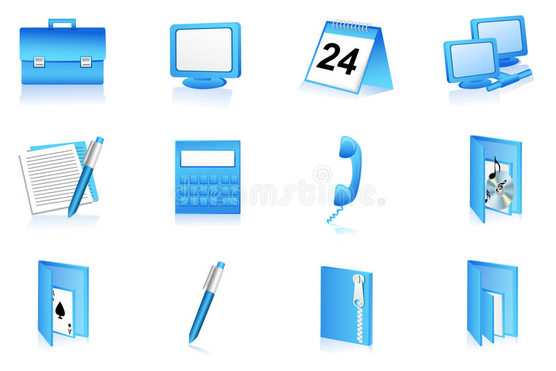 Download Ícones Dos Artigos De Papelaria Do Escritório Ilustração Stock - Ilustração de monitor, arquivo: 16874261