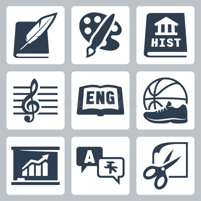 Ícones dos assuntos de escola do vetor ajustados: literatura, arte, história, música, inglês, PE, economia, línguas estrangeiras,