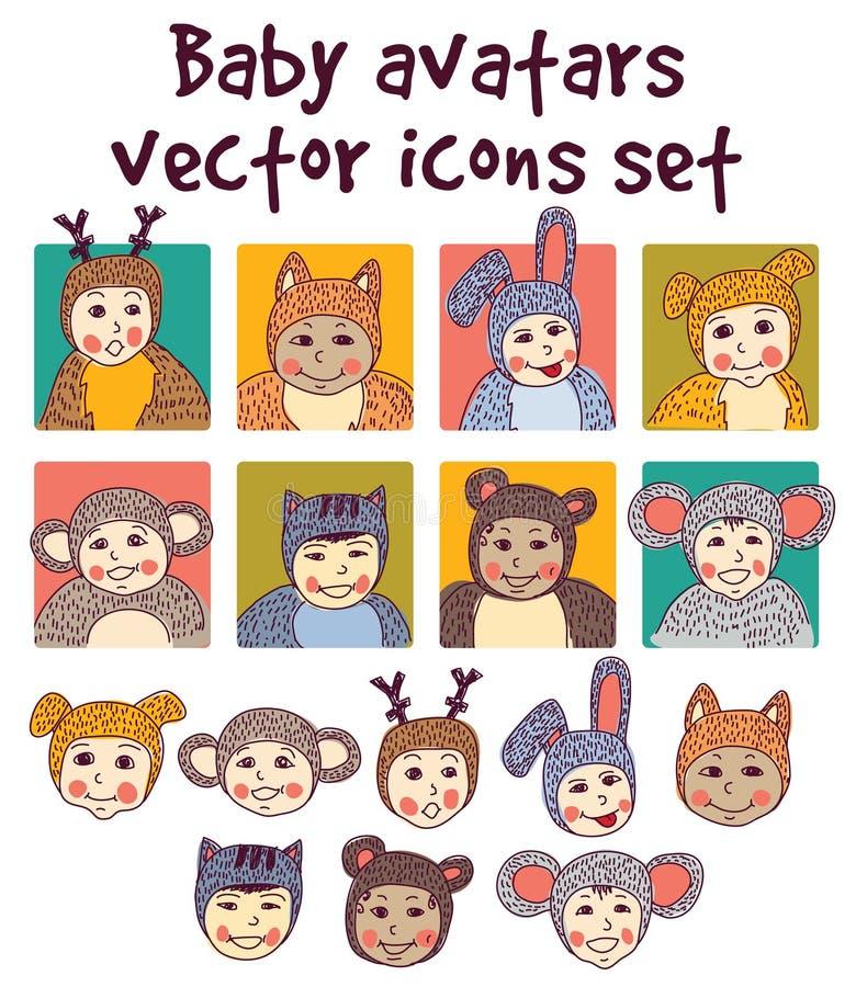 Ícones dos avatars das caras das crianças do bebê ajustados ilustração do vetor