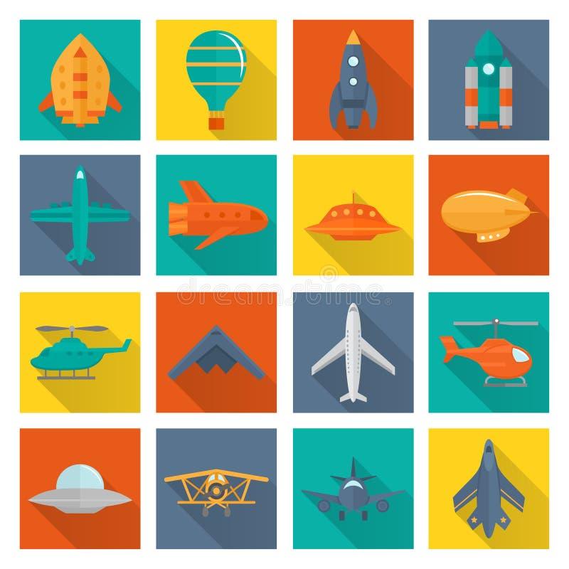 Ícones dos aviões ajustados ilustração stock