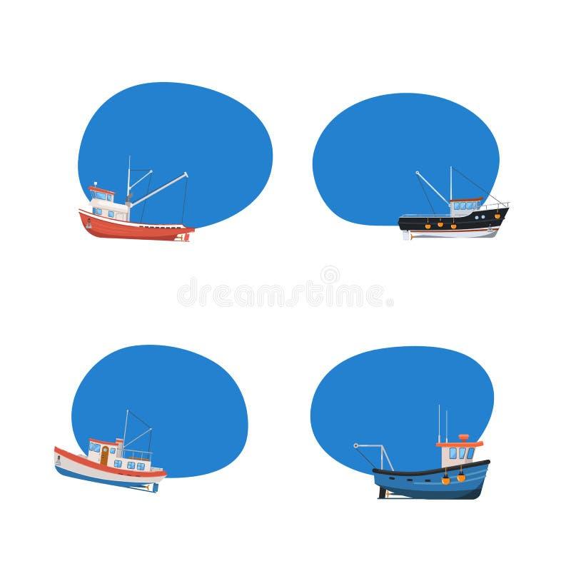 Ícones dos barcos de pesca do vintage ajustados ilustração royalty free