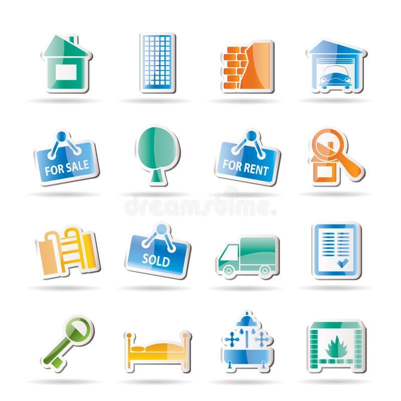 Ícones dos bens imobiliários ilustração stock