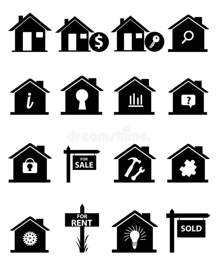 Ícones dos bens imobiliários ajustados ilustração stock