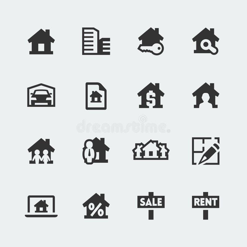 Ícones dos bens imobiliários do vetor ajustados ilustração royalty free