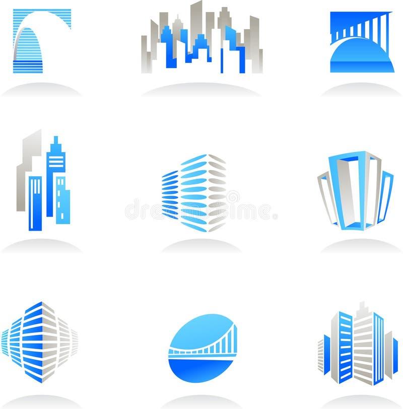 Ícones dos bens imobiliários e da construção/logotipos ilustração do vetor