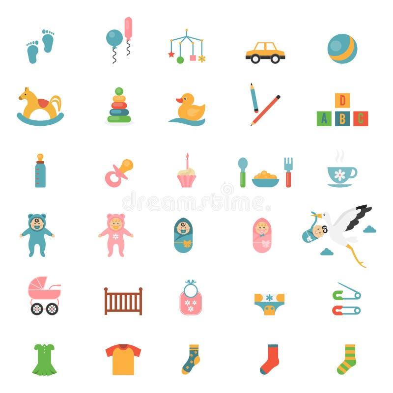 Ícones dos brinquedos dos bebês ilustração royalty free