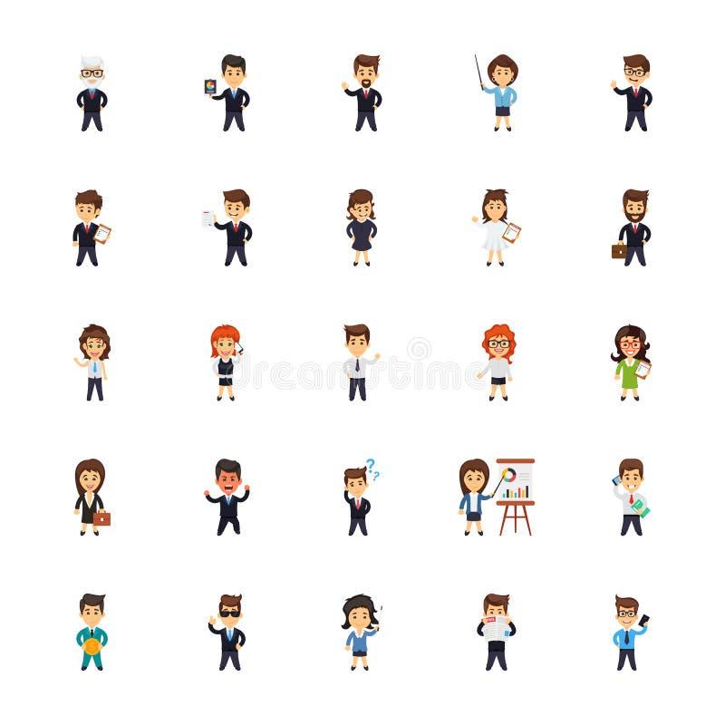 Ícones dos caráteres do negócio ajustados ilustração do vetor
