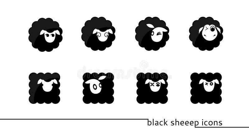 Ícones dos carneiros pretos ilustração royalty free