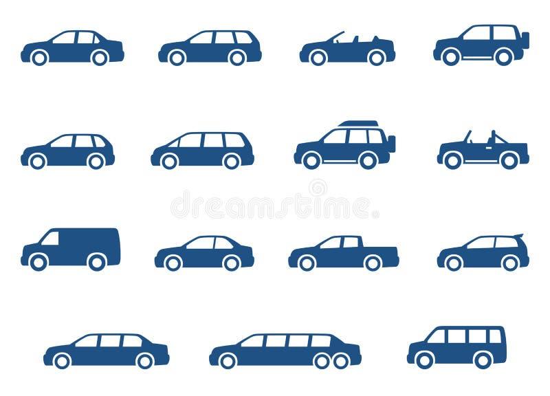 Ícones dos carros ajustados ilustração stock