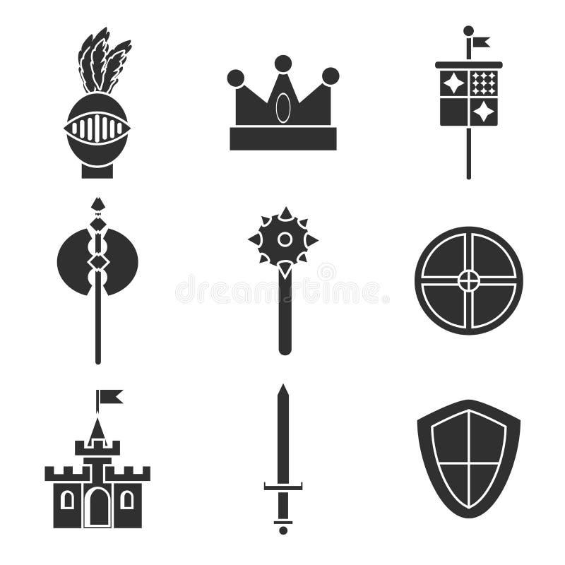 Ícones dos cavaleiros ajustados ilustração do vetor