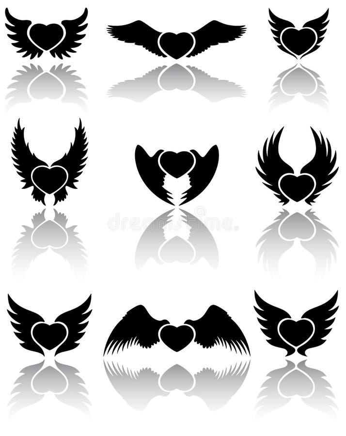 Ícones dos corações ilustração royalty free