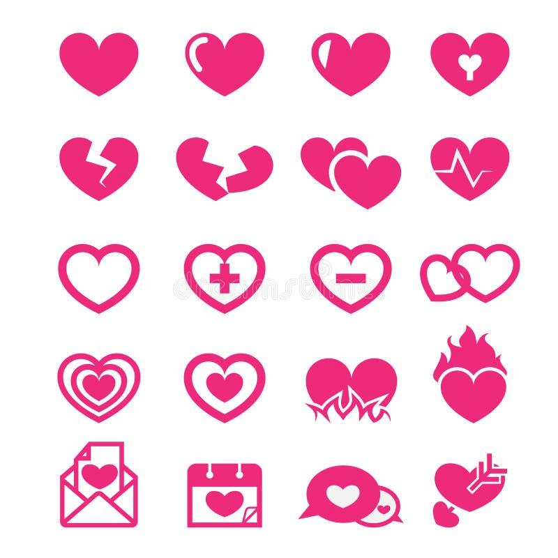 Ícones dos corações ajustados ilustração royalty free