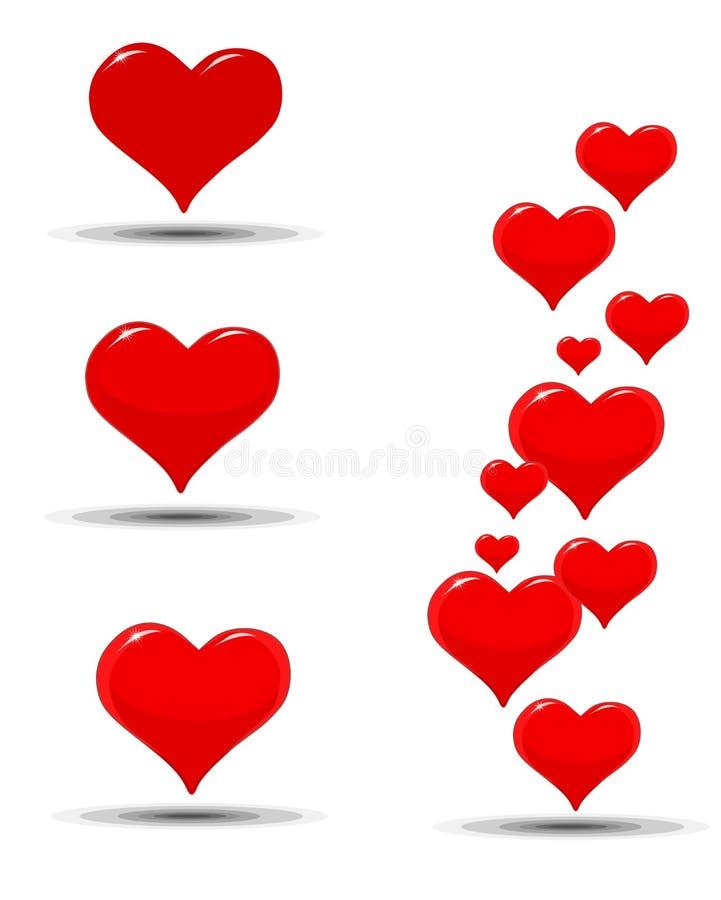 Ícones dos corações por um dia de Valentim ilustração stock