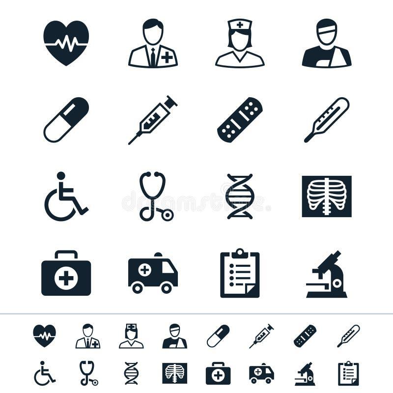 Ícones dos cuidados médicos ilustração royalty free