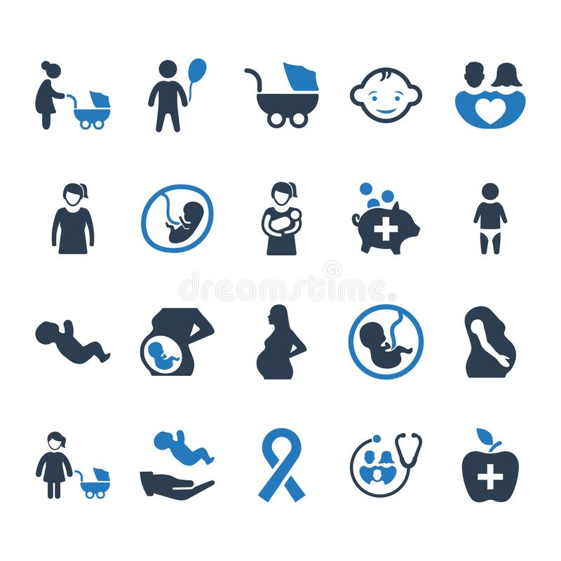 Ícones dos cuidados médicos da mãe - versão azul ilustração stock