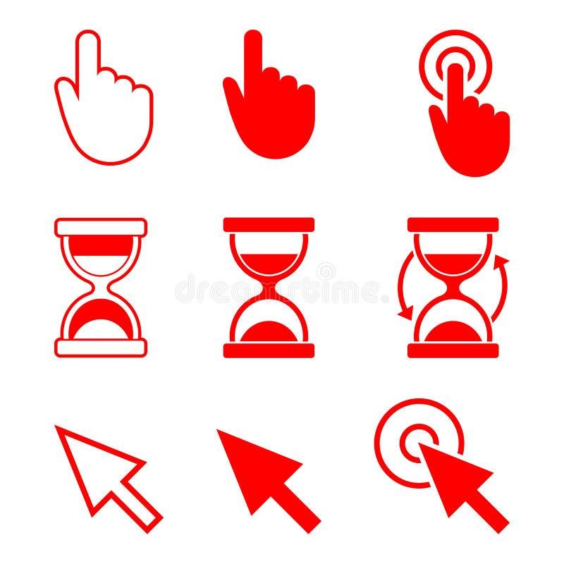 Ícones dos cursores, mão, ampulheta, seta ilustração do vetor