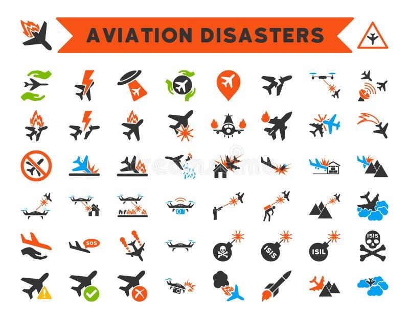Ícones dos desastres da aviação ilustração do vetor