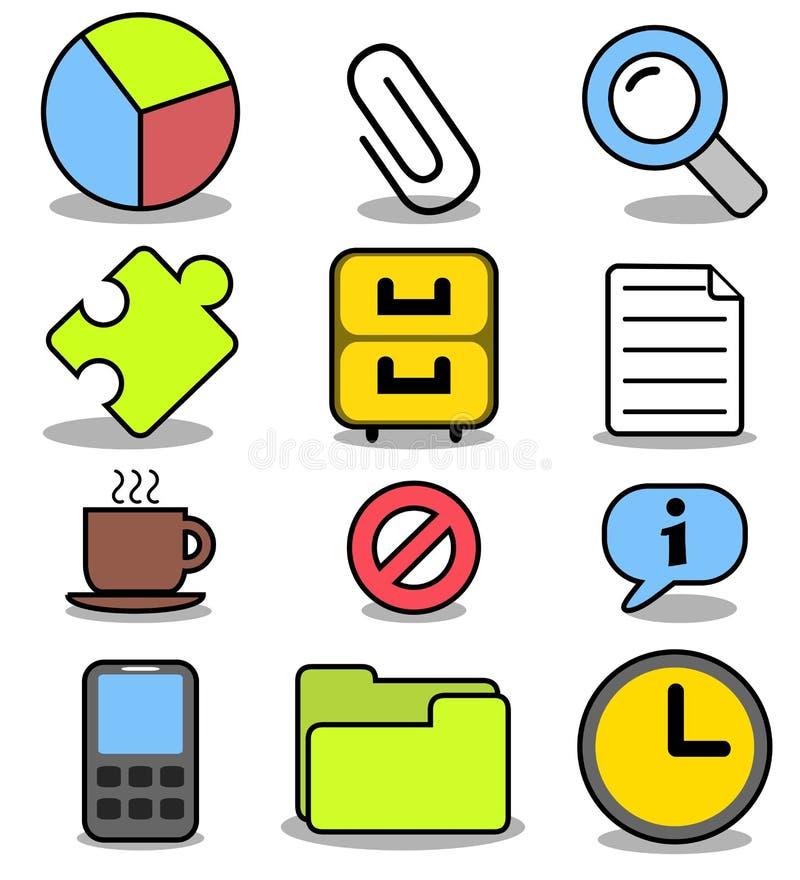 Ícones dos desenhos animados ajustados - aplicações 01 do escritório ilustração do vetor