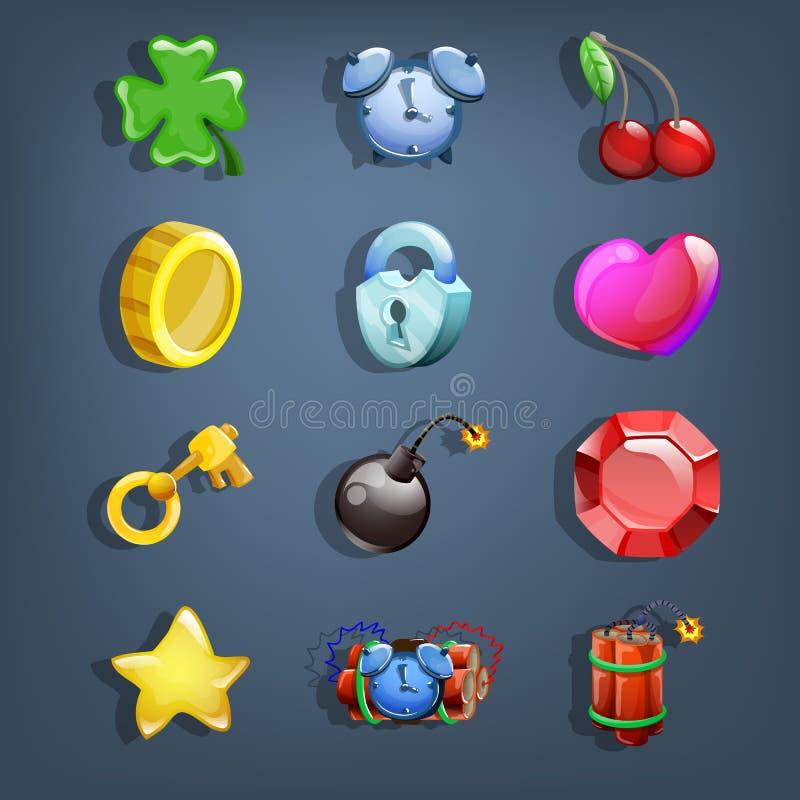 Ícones dos desenhos animados ajustados para a interface de utilizador do jogo ilustração royalty free