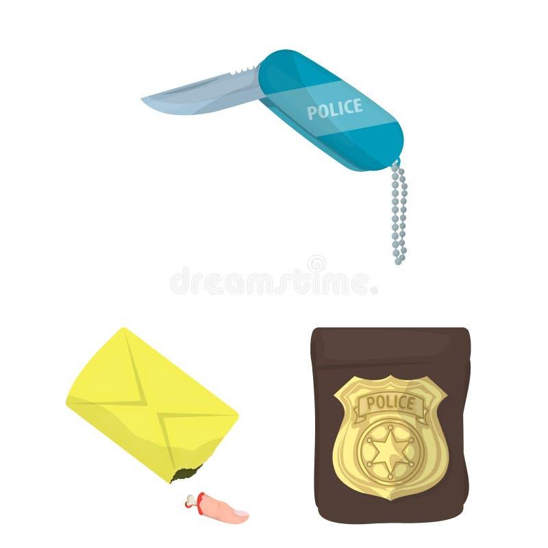 Ícones dos desenhos animados da agência de detetive na coleção do grupo para o projeto Web do estoque do símbolo do vetor do crim ilustração royalty free
