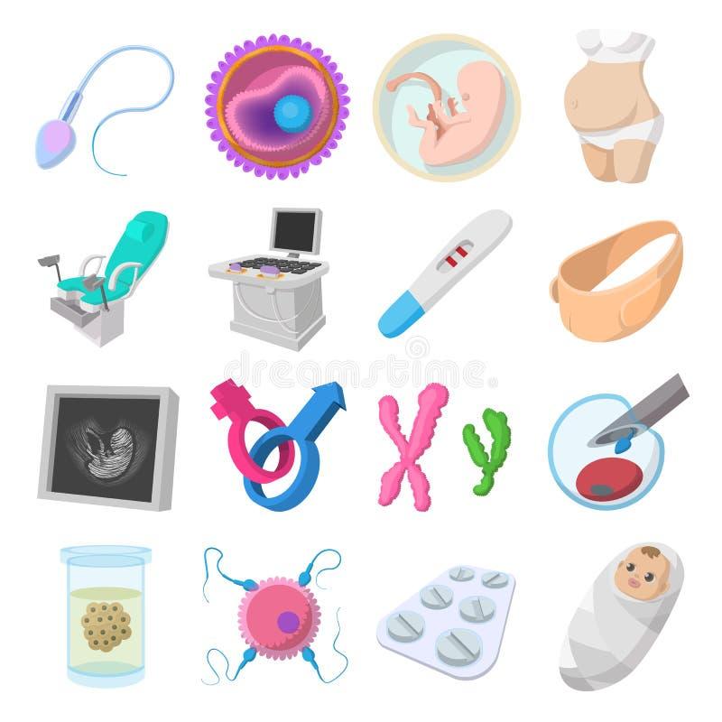 Ícones dos desenhos animados da gravidez ajustados ilustração do vetor