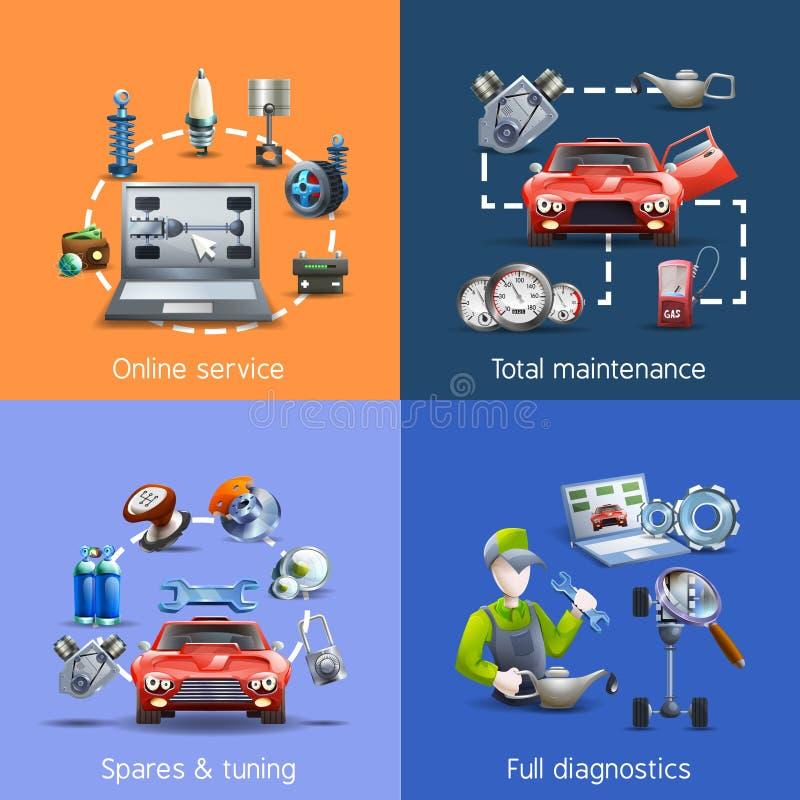 Ícones dos desenhos animados da manutenção do carro ajustados ilustração do vetor