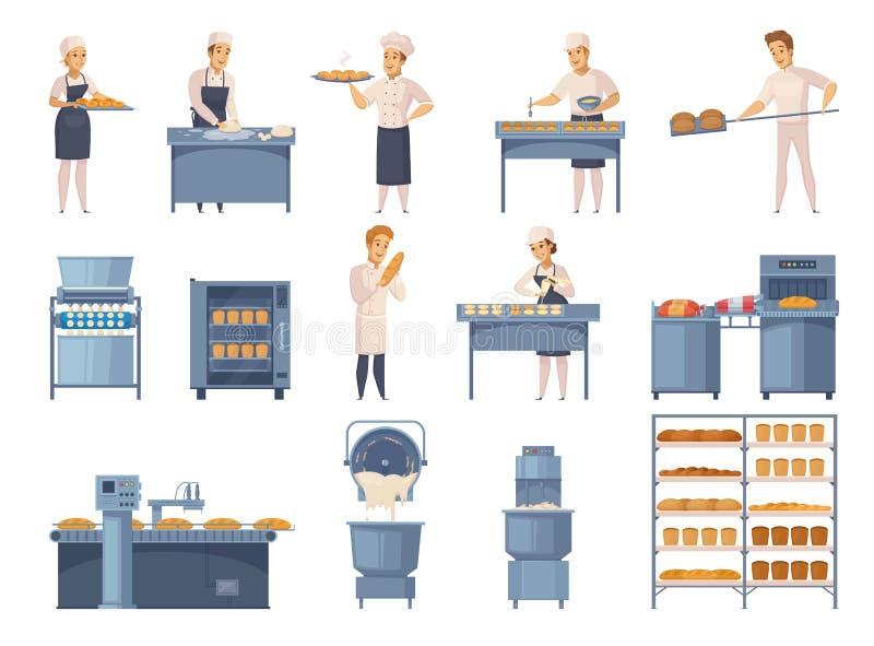 Ícones dos desenhos animados da padaria ajustados ilustração do vetor