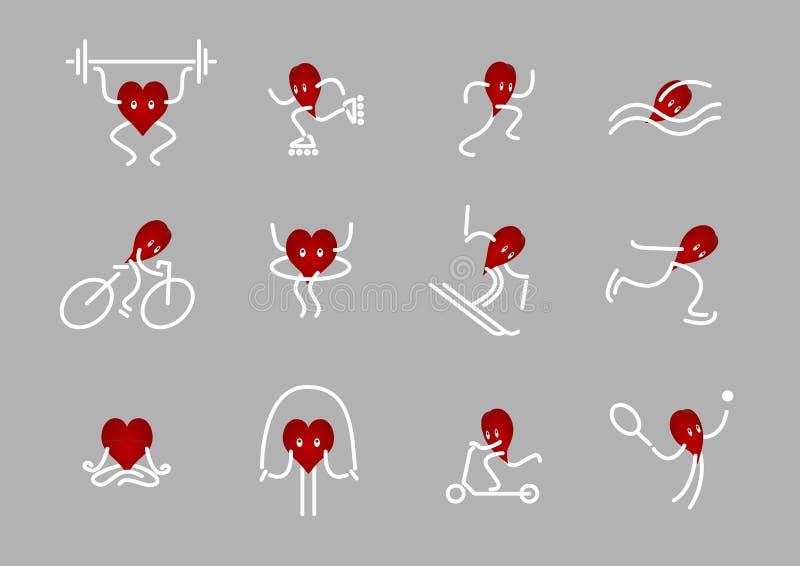 Ícones dos desenhos animados de disciplinas do coração e do esporte ilustração stock