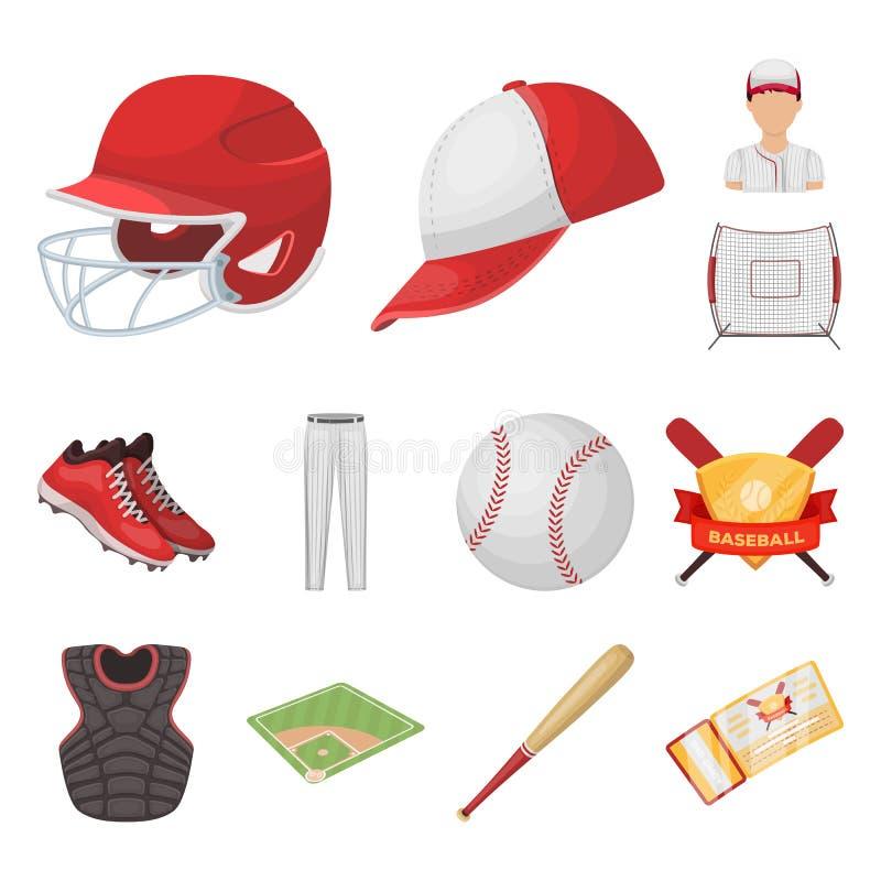 Ícones dos desenhos animados do basebol e dos atributos na coleção do grupo para o projeto Web do estoque do símbolo do vetor do  ilustração stock