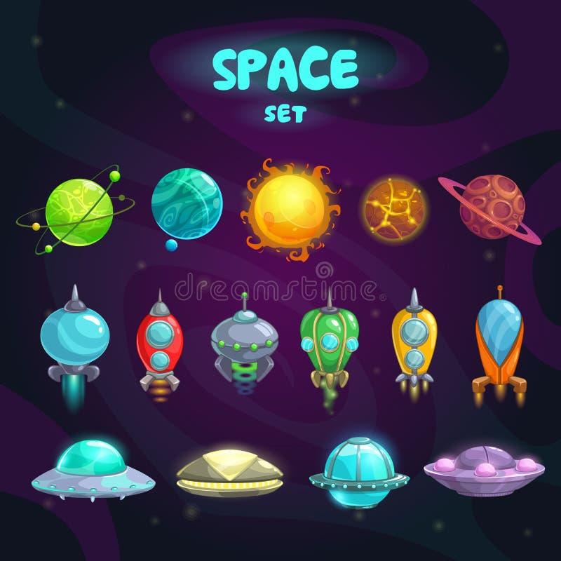 Ícones dos desenhos animados do espaço ajustados ilustração stock