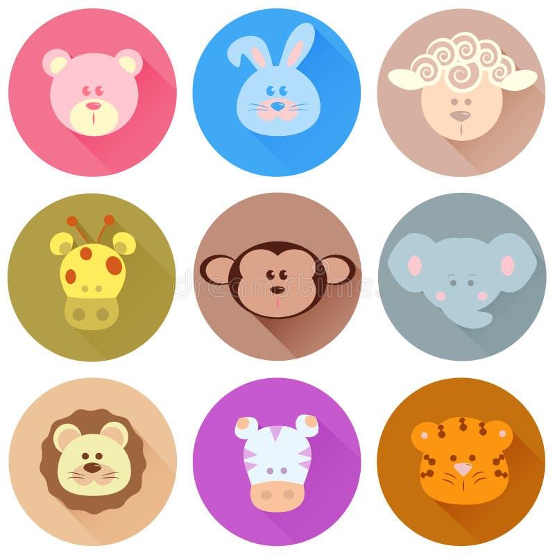 Ícones dos desenhos animados dos animais ilustração royalty free