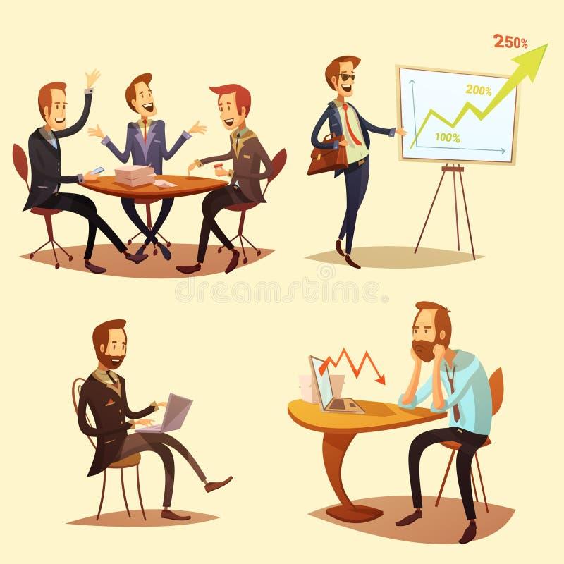 Ícones dos desenhos animados dos homens de negócios ajustados ilustração royalty free